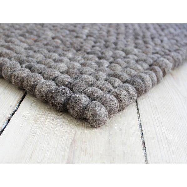 Covor cu bile din lână Wooldot Ball Rugs, 100 x 150 cm, maro nucă