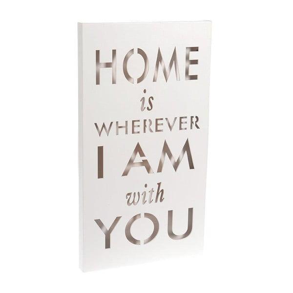 Svítící dekorace Home Is White, 24x44 cm