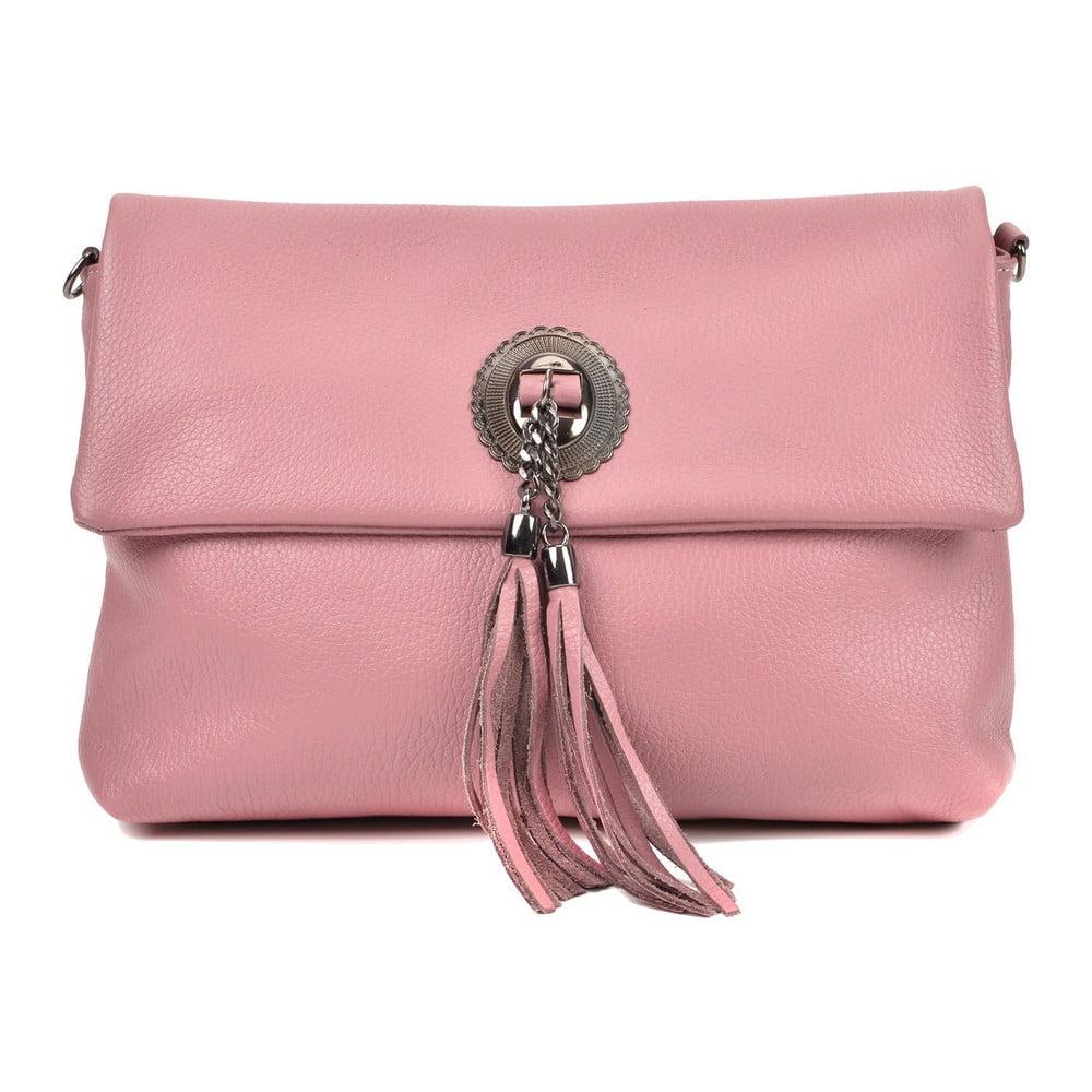 Růžová kožená kabelka crossbody RobertaM Elisa