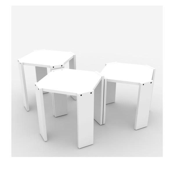 Zestaw 3 białych stolików Rafevi Hansel