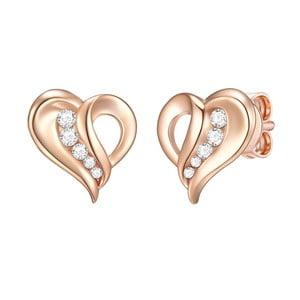 Dámské stříbrné náušnice v barvě růžového zlata CARAT 1934 Lovely Heart