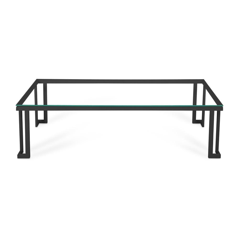 Skleněný venkovní stůl v černém rámu Calme Jardin Cannes, 60 x 150 cm