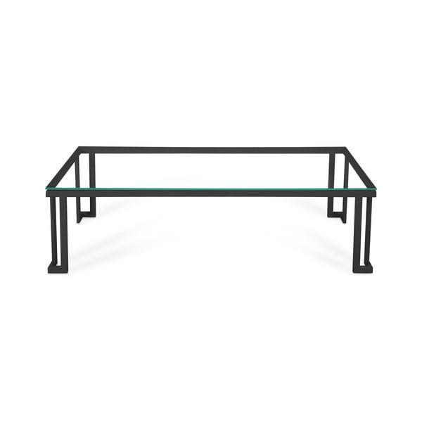 Sklenený exteriérový stôl v čiernom ráme Calme Jardin Cannes, 60 x 150 cm