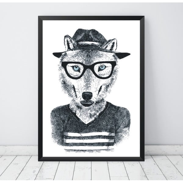 Poster Nord & Co Hipster Wolf, 40 x 50 cm