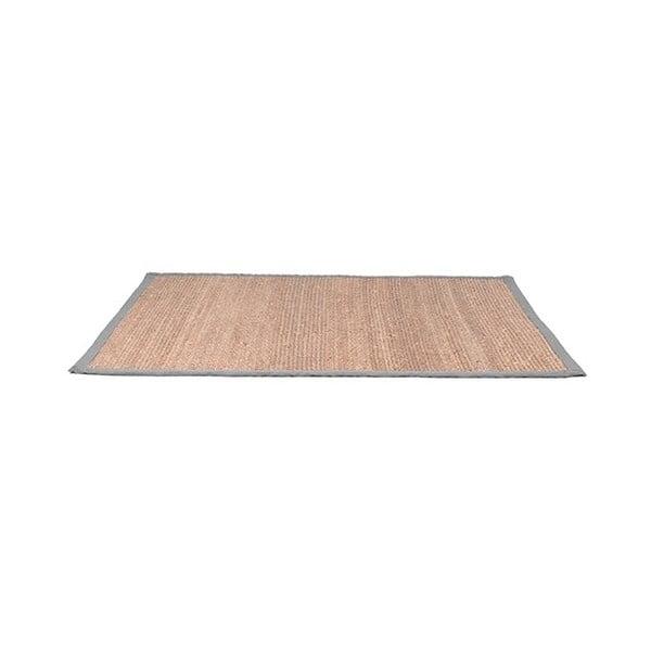 Jutový koberec sšedým bavlněným detailem LABEL51, 140x160cm