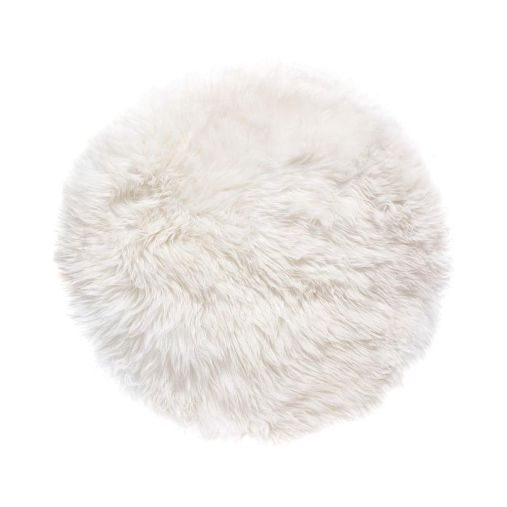 Bílý koberec z ovčí kožešiny Royal Dream Zealand, ⌀ 70 cm