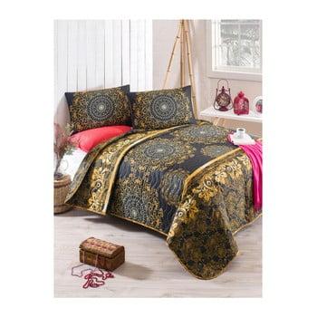 Set cuvertură pat și față de pernă din amestec de bumbac Sehri Ala Gold, 160 x 220 cm