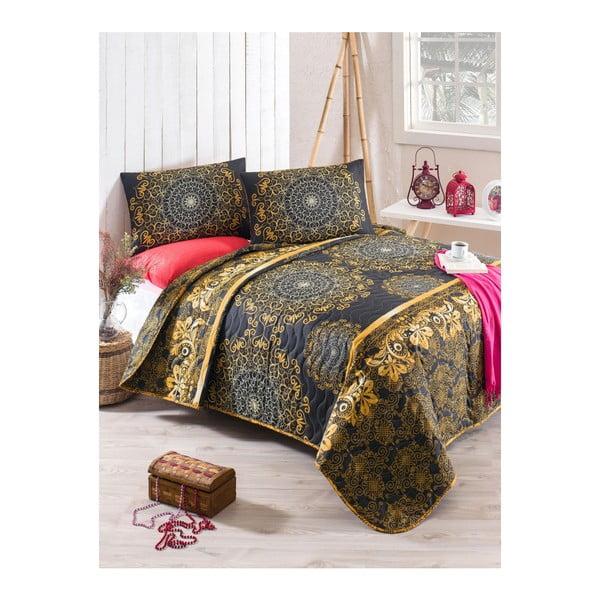 Zestaw narzuty na łóżko i poszewki na poduszkę z domieszką bawełny Sehri Ala Gold, 160x220 cm