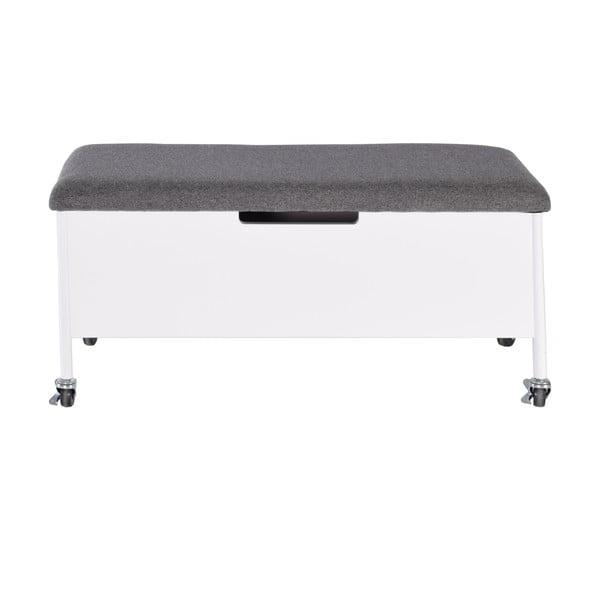 Bílá lavice s úložným prostorem na kolečkách RGE Sture