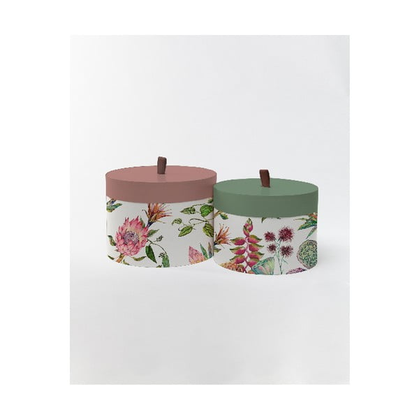Kulaté úložné krabice Surdic Round Boxes Flores Salvajes s motivem květů, 30 x 30 cm