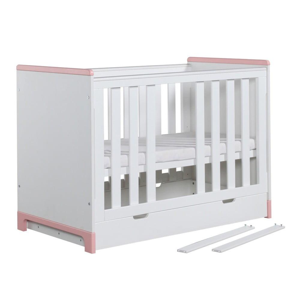 Bílo-růžová dětská postýlka Pinio Mini, 120 x 60 cm