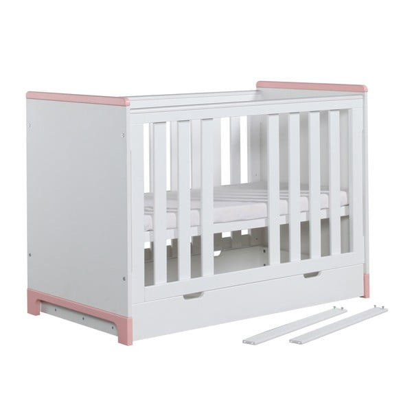 Mini fehér-rózsaszín kiságy, 120 x 60 cm - Pinio