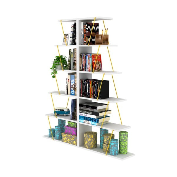 Bibliotecă cu detalii galbene Rafevi Tars Mini, alb