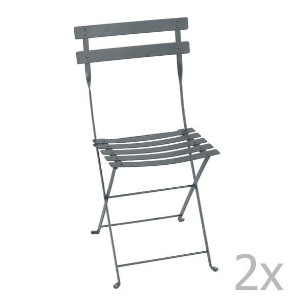 Sada 2 tmavě šedých skládacích židlí Fermob Bistro