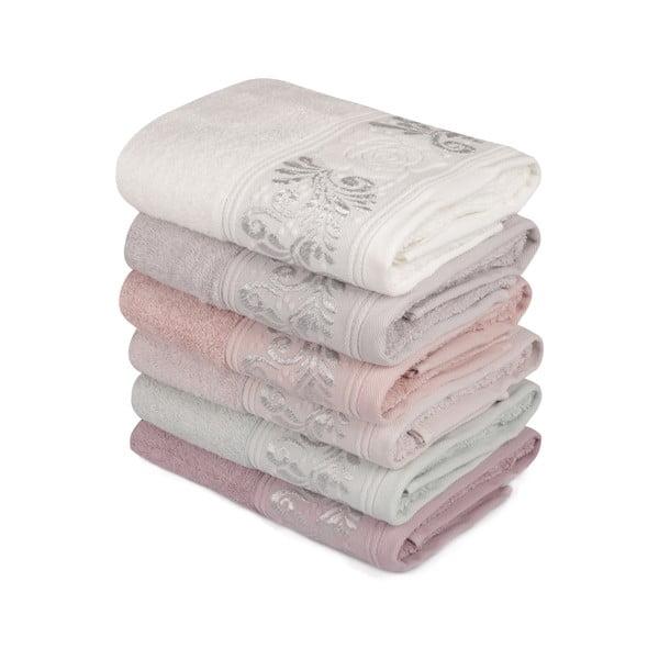 Sada 6 ručníků na ruce Vintage Lily, 90x50cm
