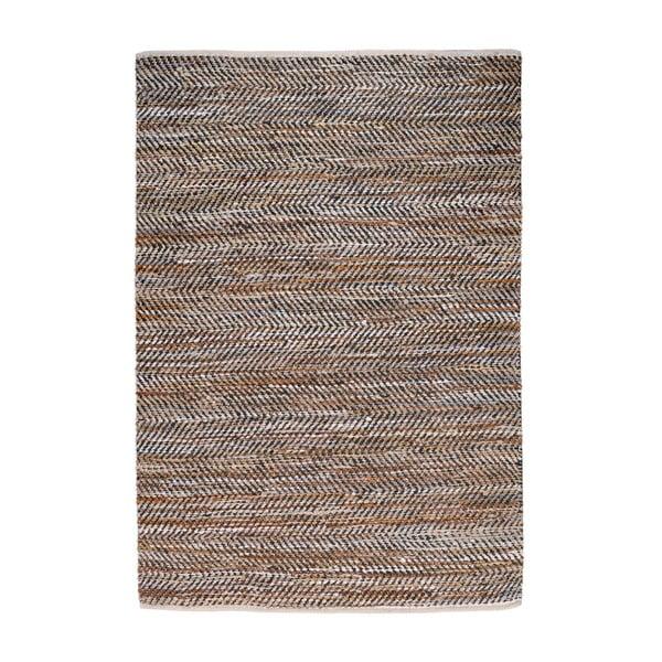 Denimový koberec propletený kůží Atlas Beige/Chestnut, 160x230 cm