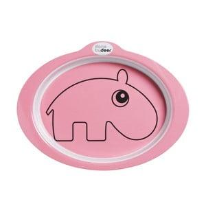 Dětský růžový protiskluzový talíř Done by Deer Contour