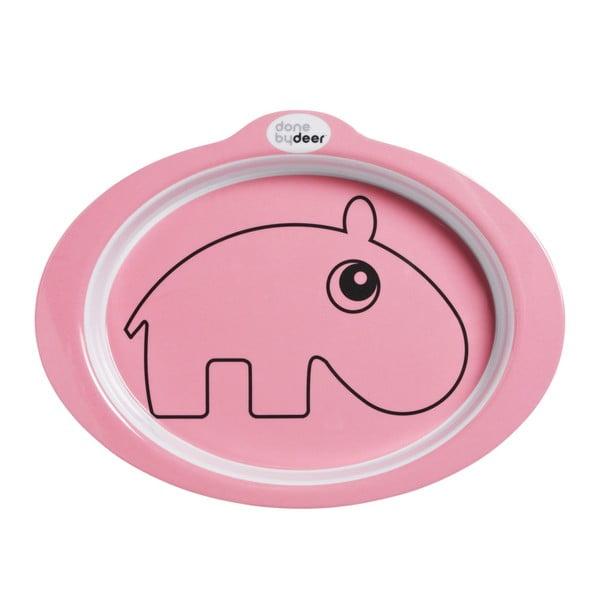 Detský ružový protišmykový tanier Done by Deer Contour