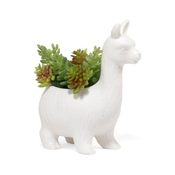 Bílý porcelánový květináč ve tvaru lamy Kikkerland Llama