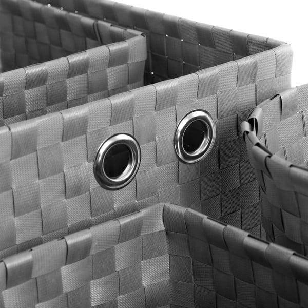 Sada 4 šedých úložných košíků Unimasa