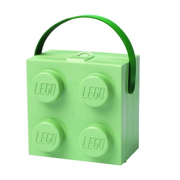 Cutie depozitare LEGO cu mâner, verde
