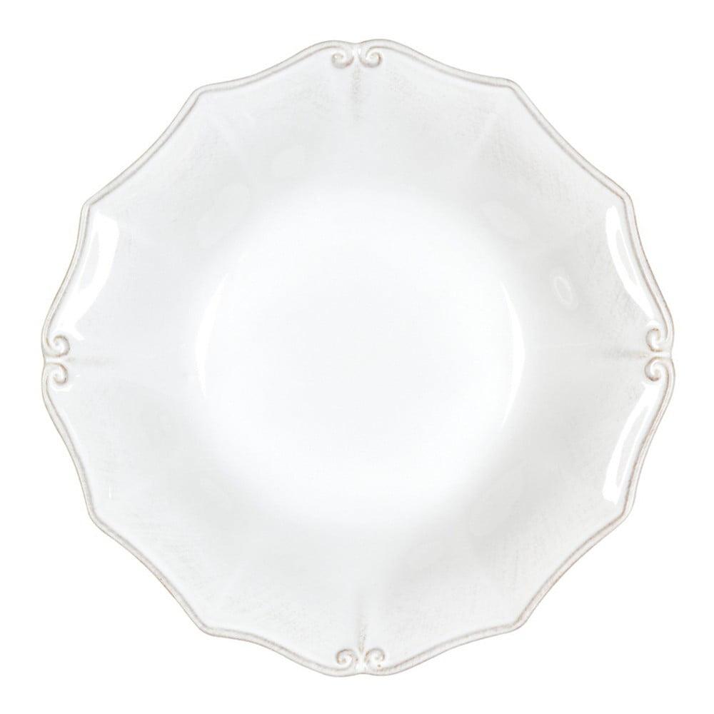 Bílý kameninový talíř na polévku Casafina Vintage Port Barroco, ⌀24cm