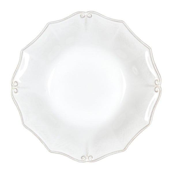 Biely kameninový tanier na polievku Casafina Vintage Port Barroco, ⌀ 24 cm