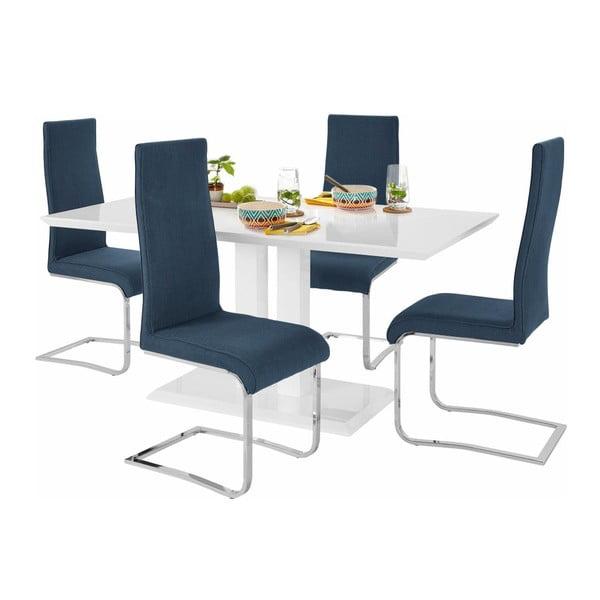 Sada jídelního stolu a 4 modrých židlí Støraa Mai