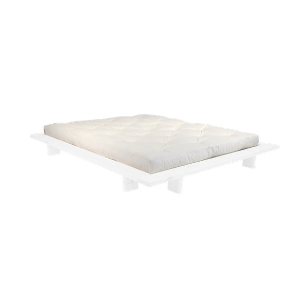 Pat dublu din lemn de pin cu saltea Karup Design Japan Comfort Mat White/Natural, 140 x 200 cm