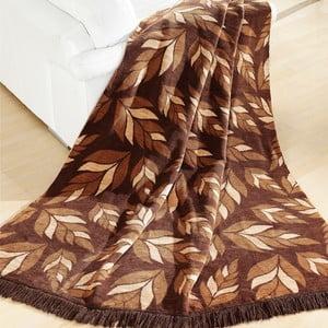Přehoz Alpino hnědé listy, 150x200 cm