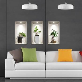 Set 3 autocolante 3D pentru perete Ambiance Bonsai Plants