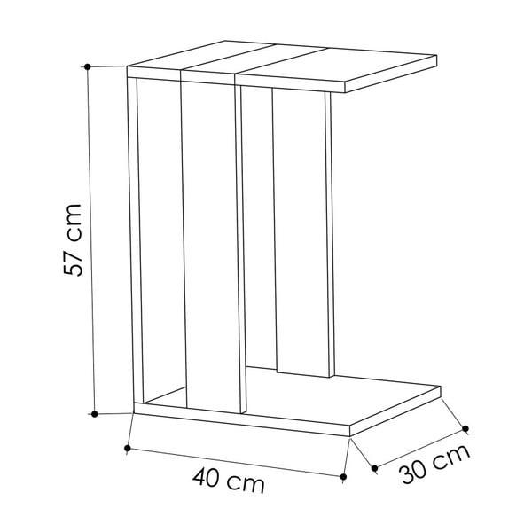 Bílo-hnědý příruční stolek Zenni Sonomo White
