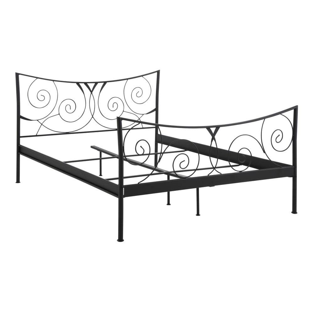 Černá dvoulůžková kovová postel Støraa Isabelle, 140 x 200 cm