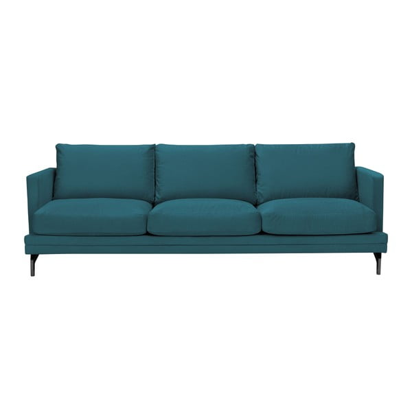 Tyrkysová trojmiestna pohovka s podnožou v čiernej farbe Windsor & Co Sofas Jupiter
