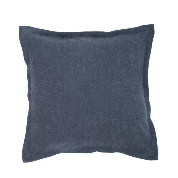 Tmavě modrý polštář s příměsí lnu Tiseco Home Studio, 45 x 45 cm