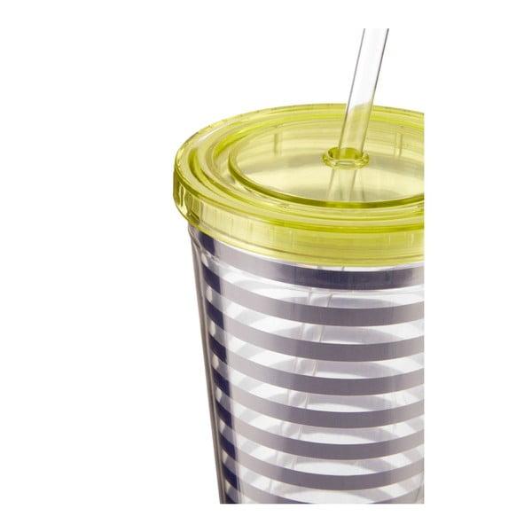 Modro-bílý pruhovaný kelímek se zeleným víčkem Premier Housewares Mimo,450ml
