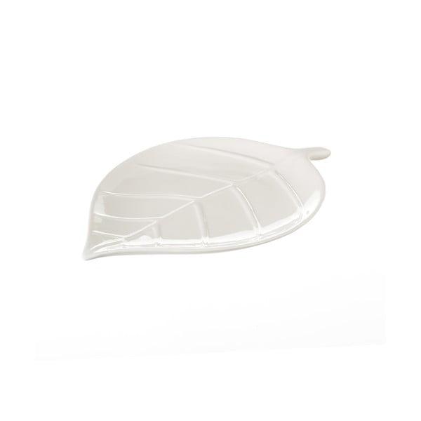 Platou din ceramică Unimasa Leaf, lungime 25 cm, alb