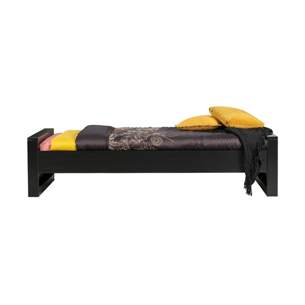 Černá jednolůžková postel z borovicového dřeva WOOOD Dennis,90x200cm