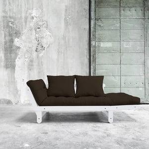 Canapea extensibilă Beat White/Choco Brown