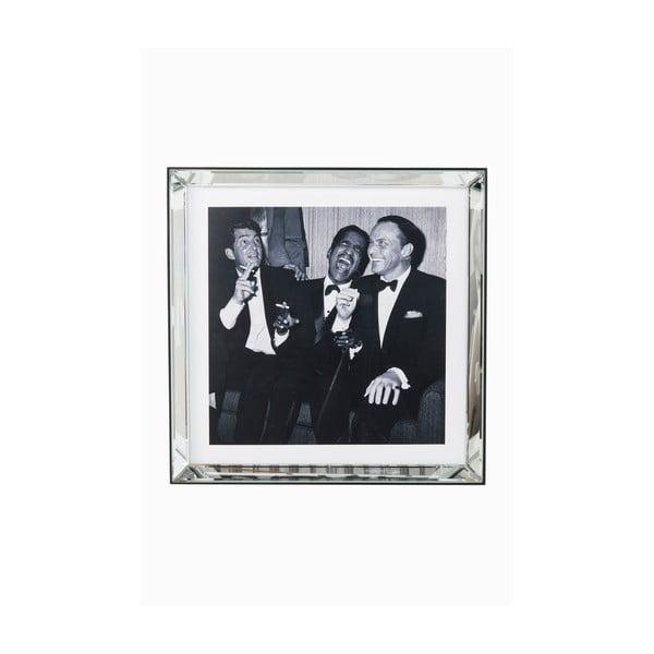 Zasklený černobílý obraz Kare Design Rat Pack, 60 x 60 cm