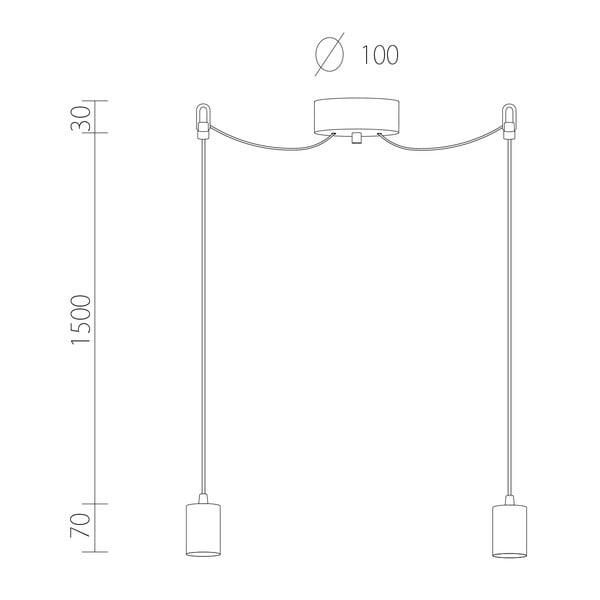 Dvojité závěsné kabely Cero, měděná/černá/černá