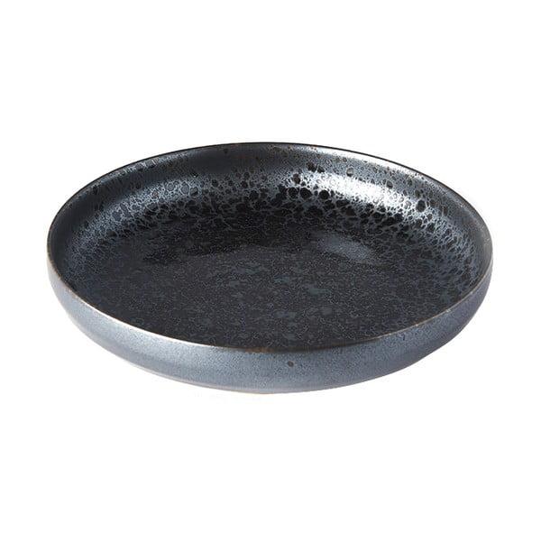 Czarno-szary talerz ceramiczny z wysokim brzegiem MIJ Pearl, ø 22 cm