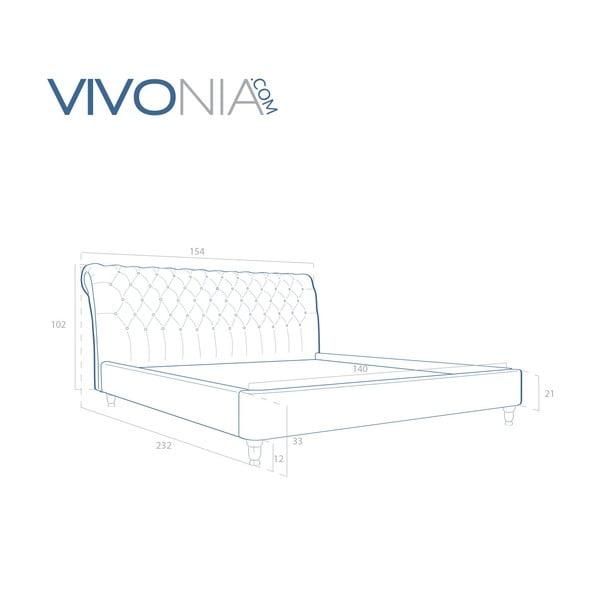 Pastelově zelená postel s přírodními nohami Vivonita Allon,140x200cm