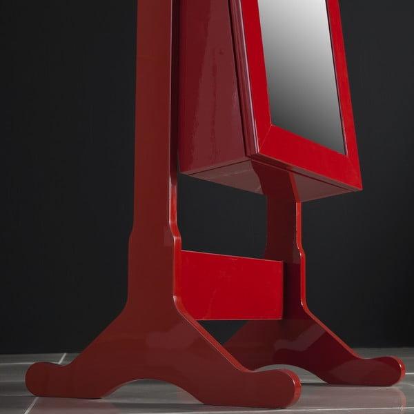 Uzamykatelné stojací zrcadlo se šperkovnicí Melody, červené
