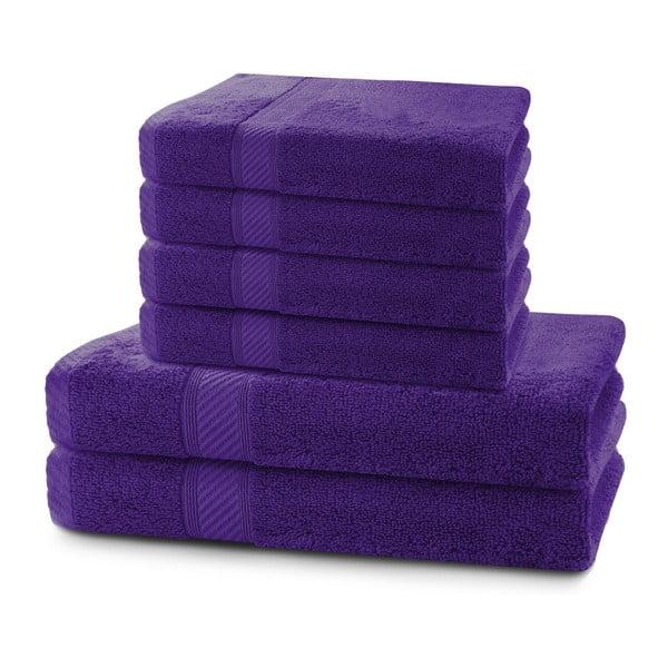 Set 2 tmavě fialových osušek a 4 ručníků DecoKing Bamby