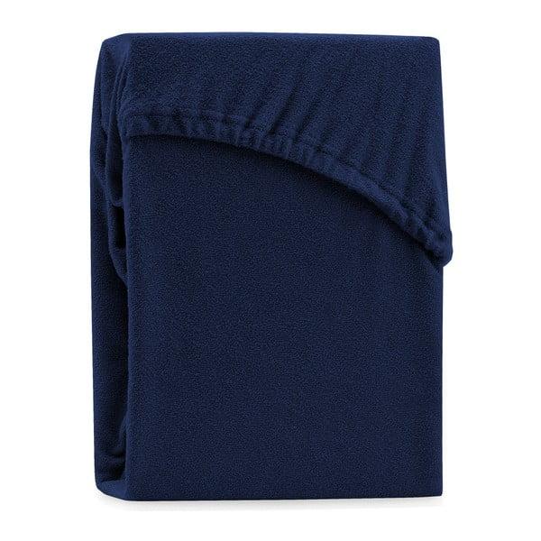 Tmavě modré elastické prostěradlo na dvoulůžko AmeliaHome Ruby Navy Blue, 220-240 x 220 cm
