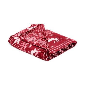 Pătură din micropluș My House Deer, 150 x 200 cm, roșu-alb de la My House