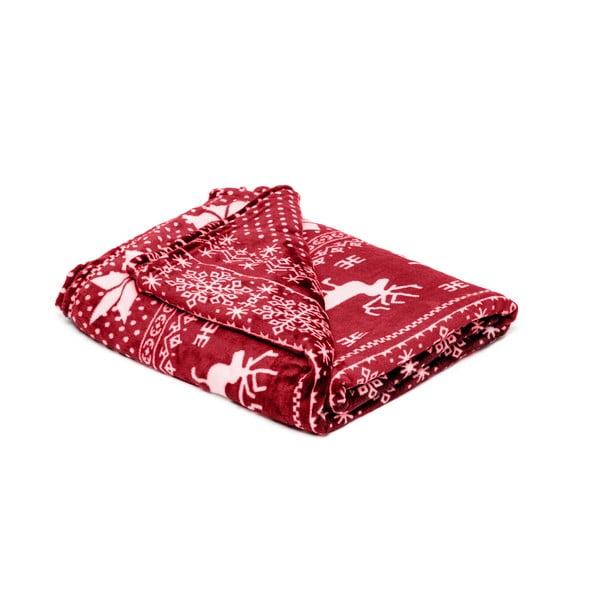 Pătură din micropluș My House Deer, 150 x 200 cm, roșu-alb