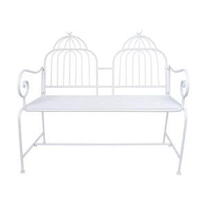 Bílá kovová zahradní lavice Ewax Cage