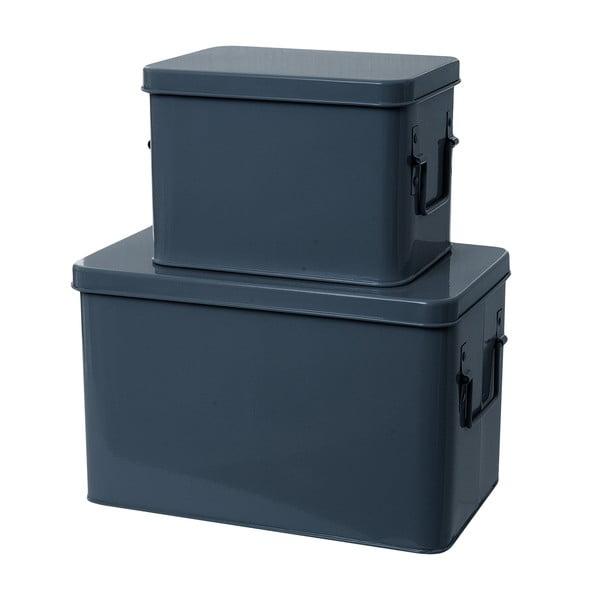 Set 2 skladovacích boxů Present Time Metal Blue